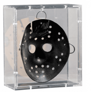 Displayed inside a custom 360 degree acrylic box to show off the signature on the inside of the mask as well as the front, with an acrylic back panel that can be removed to access the mask.